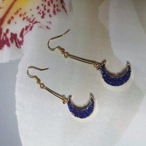 Crescent Moon Druzy Earrings