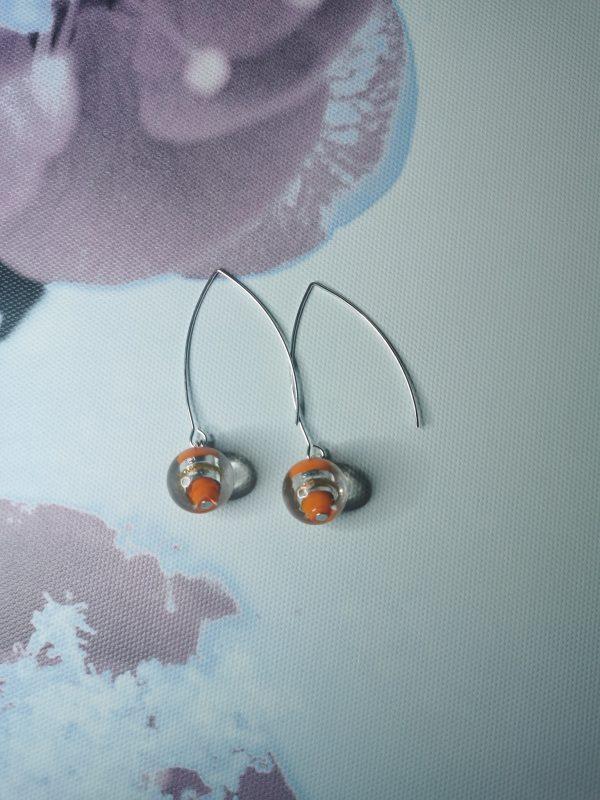 Orange & Silver Foil Elegant Earrings