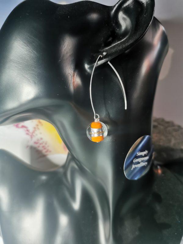 Orange & Silver Foil Elegant Earrings - IMG 20210129 154848