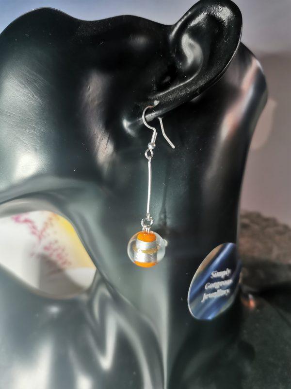 Orange & Silver Foil Dangle Earrings - IMG 20210129 154917
