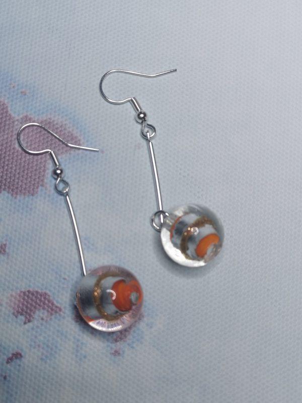 Orange & Silver Foil Dangle Earrings