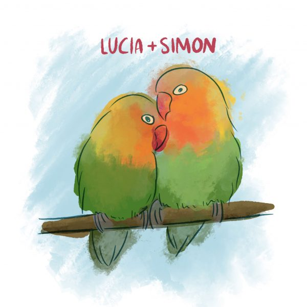 LoveBirds Personalised Tile Brights - Love Birds With Names