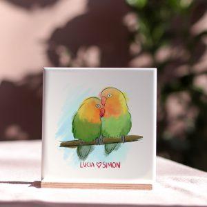 LoveBirds Personalised Tile Brights