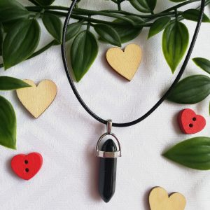 Black Hexagonal Crystal Pendant Necklace