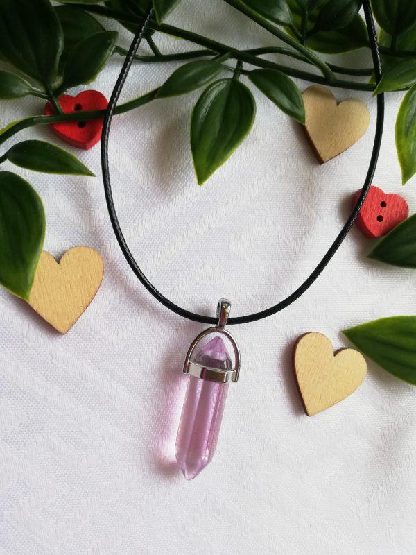 Pink Hexagonal Crystal Pendant Necklace