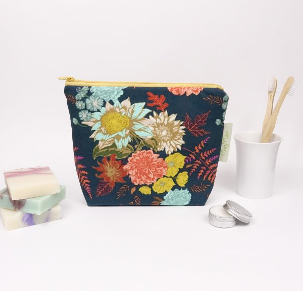 Navy Floral Large Zipper Pouch - RX300822