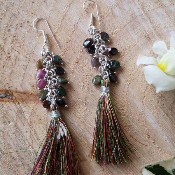 Tourmaline Tassel Earrings