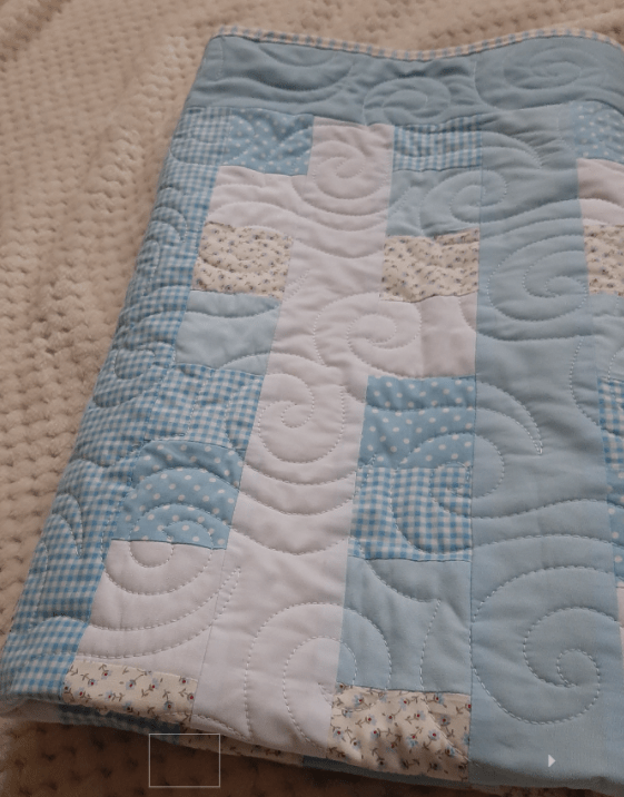 Blues, Gingham and Florals Baby Quilt - baby blue2