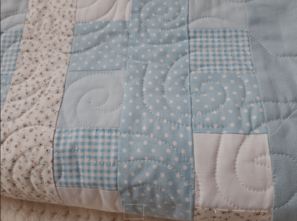 Blues, Gingham and Florals Baby Quilt - baby blue3