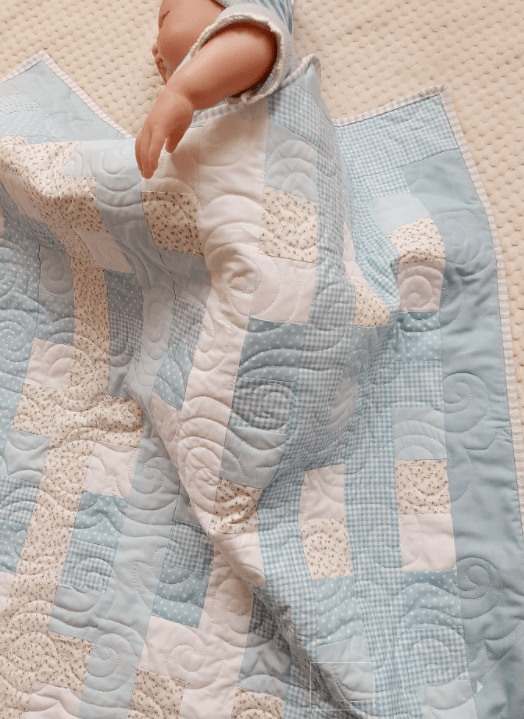 Blues, Gingham and Florals Baby Quilt - baby blue5