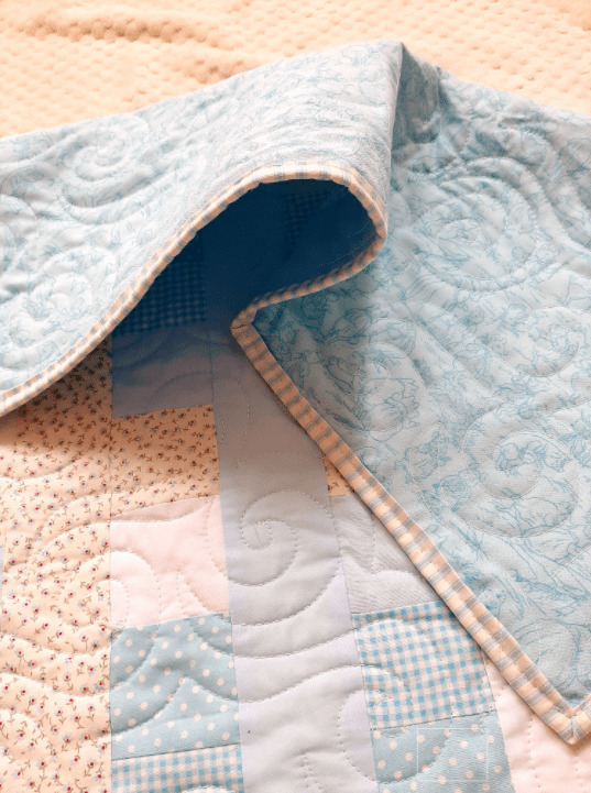 Blues, Gingham and Florals Baby Quilt - baby blue6
