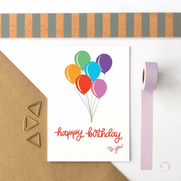 Happy Birthday Balloons Card - birthday balloons new writing 3