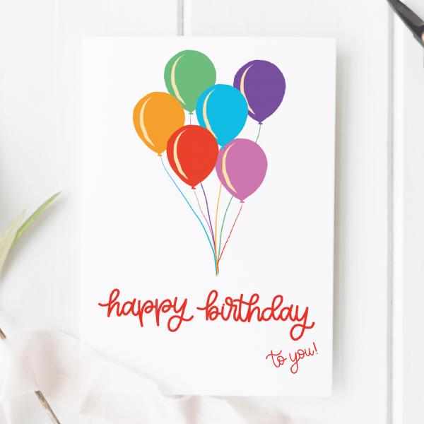 Happy Birthday Balloons Card - birthday balloons new writing