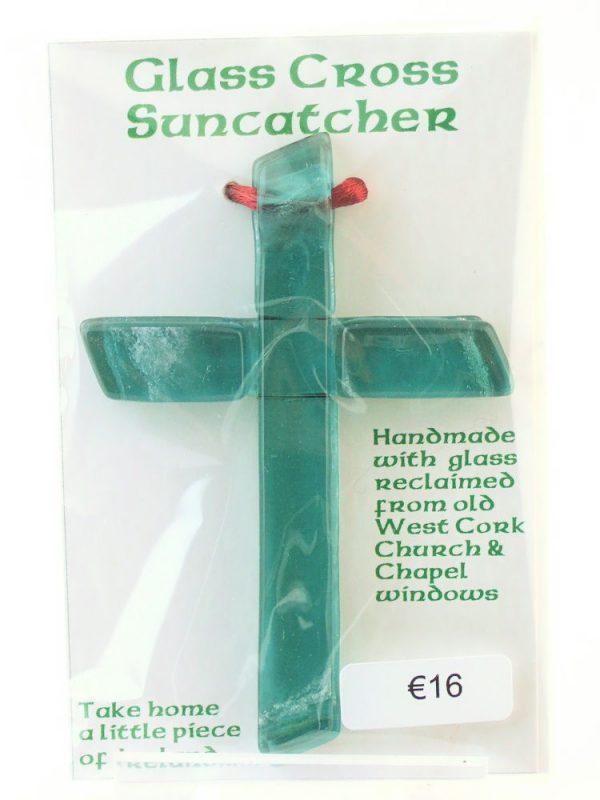 fused-glass reclaimed church cross
