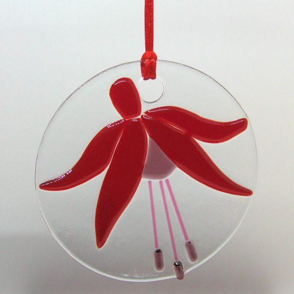 Fused-Glass Fuchsia Suncatcher - Large - fuchsia suncatcher