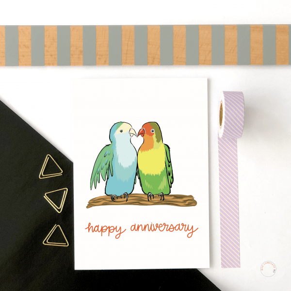 Love Birds Anniversary Card - happy anniversrary birds new 3