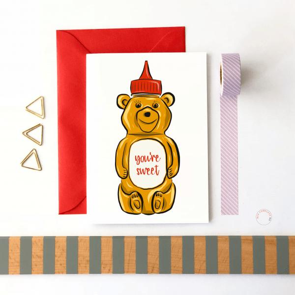 You're Sweet Honey Bear Card