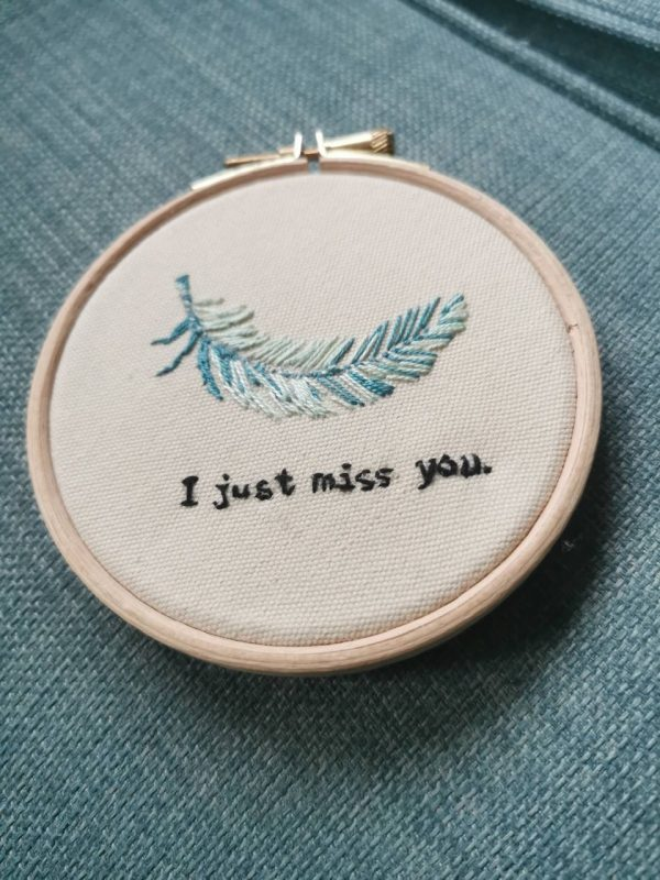 Miss You Memorial Embroidered Feather