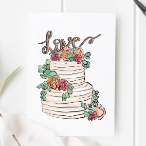 Love Illustrated Wedding Cake Card
