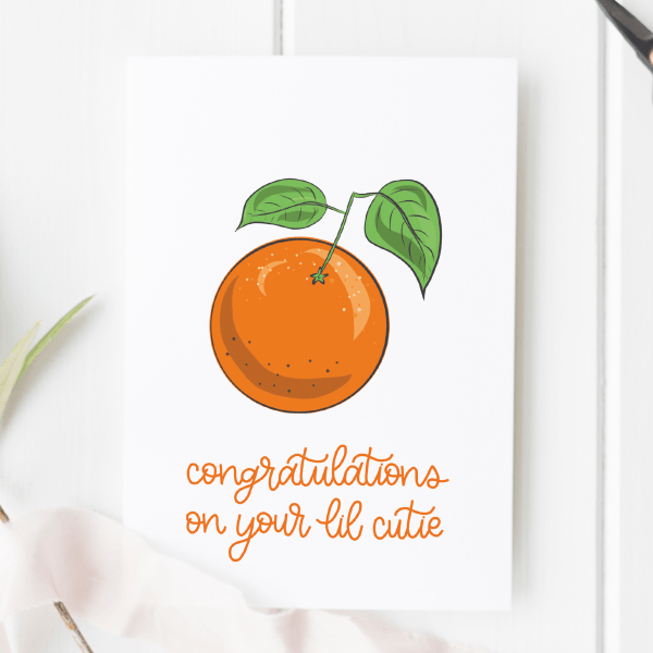 Lil Cutie Illustrated New Baby Card - new lil cutie 2