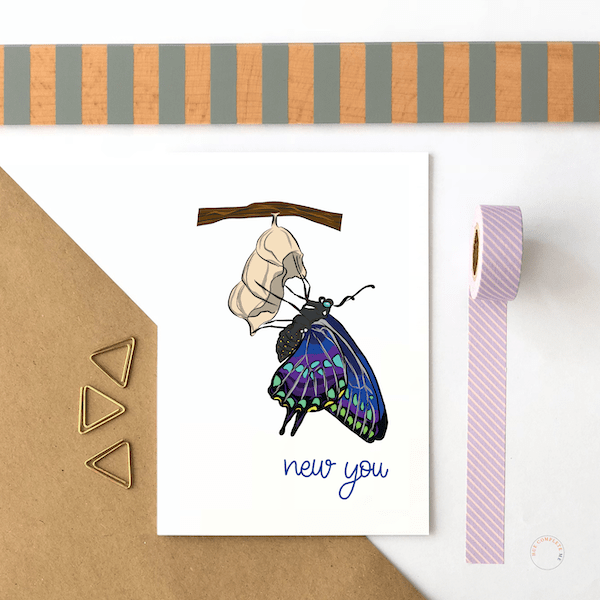 New You Butterfly Card - new you new writing copy 1