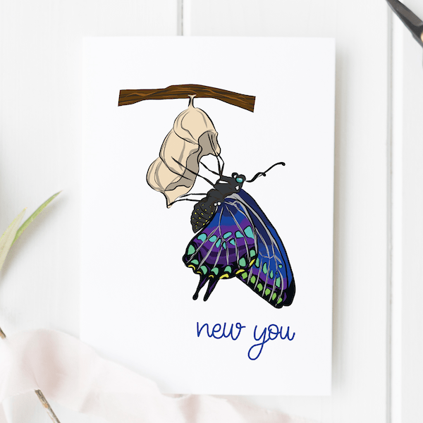 New You Butterfly Card - new you new writing copy