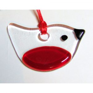 fused-glass robin suncatcher