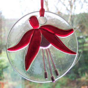 Fused-Glass Fuchsia Suncatcher