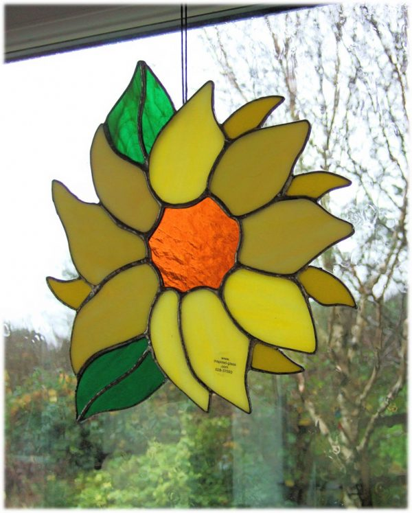 Stained-Glass Sunflower Window Panel