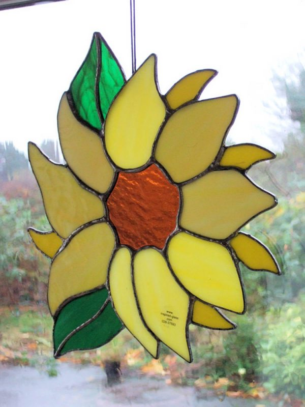 Stained-Glass Sunflower Window Panel - sunflower 2
