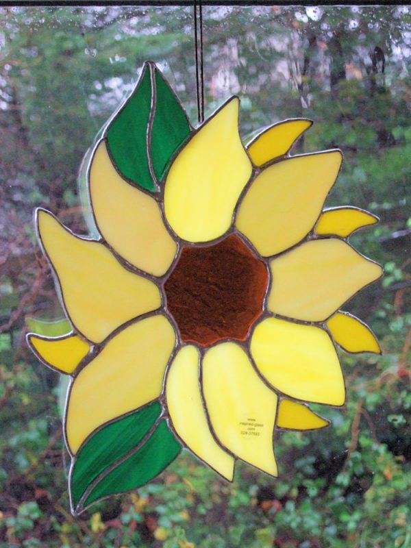 Stained-Glass Sunflower Window Panel - sunflower 3