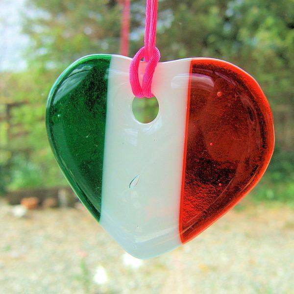 Fused-Glass Tricolour Heart Suncatcher - tricolour heart