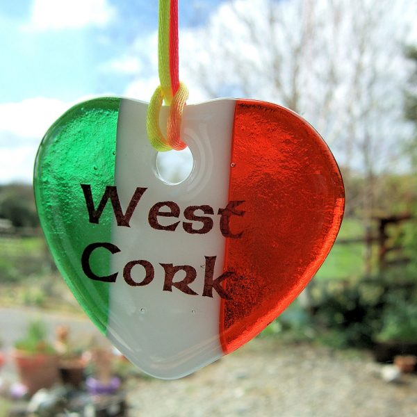 Fused-glass Tricolour West Cork Heart Suncatcher
