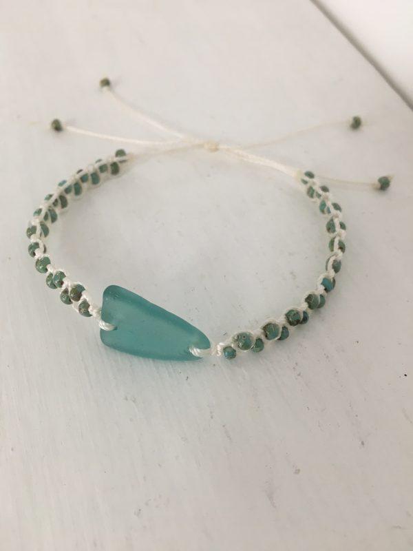 Turquoise Sea Glass Macrame Bracelet - 01F4E6F5 FE7E 49A9 B6F9 058521299D8C rotated
