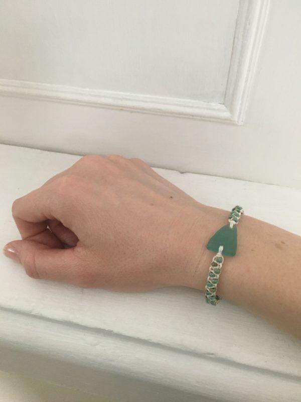 Turquoise Sea Glass Macrame Bracelet - 1E753C66 C262 4B7B 9C16 0BE320551B41 rotated