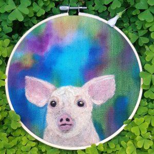 Little Piggy - Embroidery Hoop Art