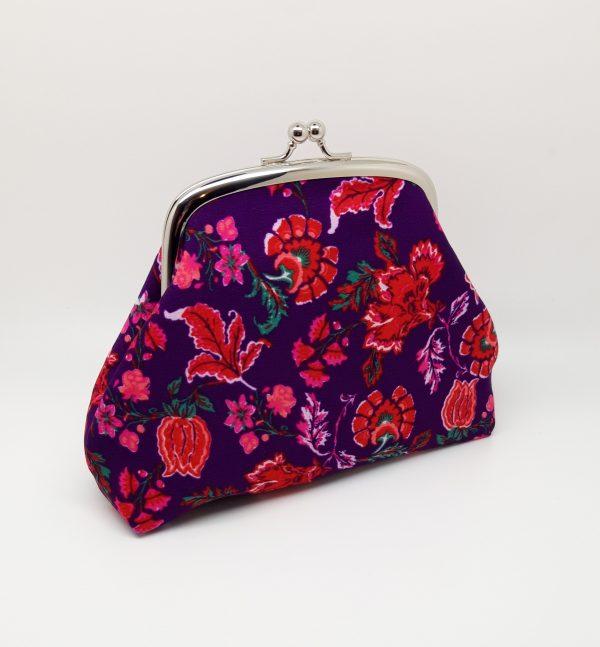 Purple Floral Clutch Bag