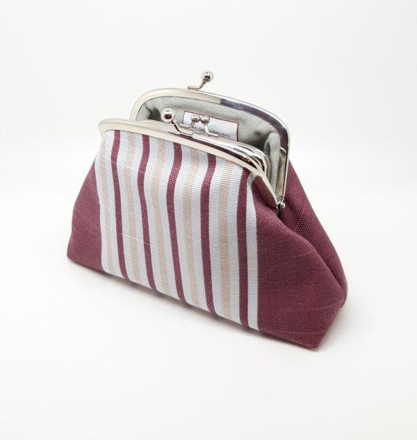 Wine Striped Clutch Bag