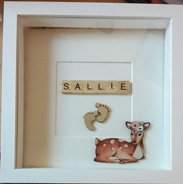 Personalised Baby Girl Name Frame (Deer)
