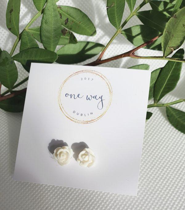 Rose Handmade Mini Silver Stud Earrings - 20210215 111301