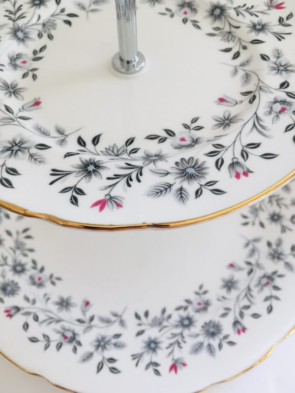 Cake Stand - 3 Tier Black and Red Floral Fine Bone China - 294E1708 6053 4B06 A7A3 4AF30A96B6C3