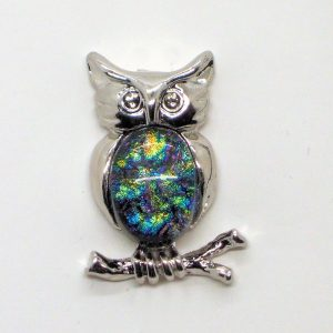 Fused-Glass Jewellery Owl Brooch - 532