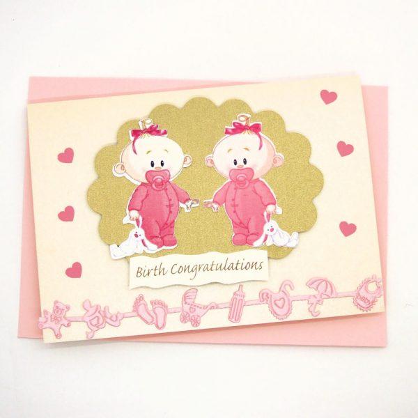 Handmade 'Baby twins' Card - 683 - 683b