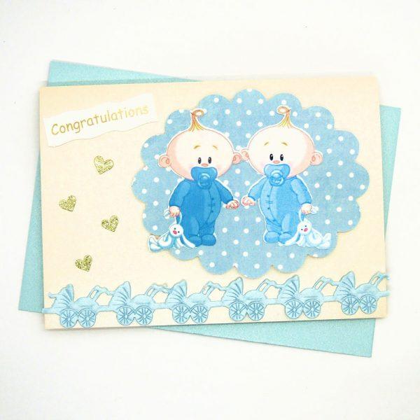 Handmade 'Baby twins' Card - 685 - 685a