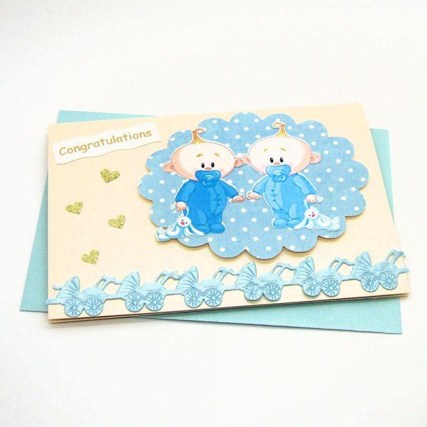 Handmade 'Baby twins' Card - 685
