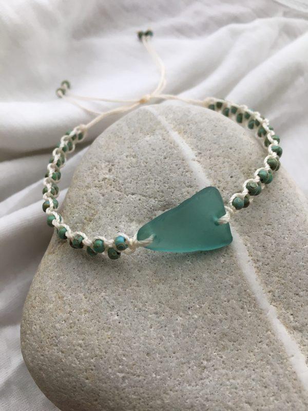 Turquoise Sea Glass Macrame Bracelet - 6B03ACB9 3622 4503 A983 534663EC2277 rotated