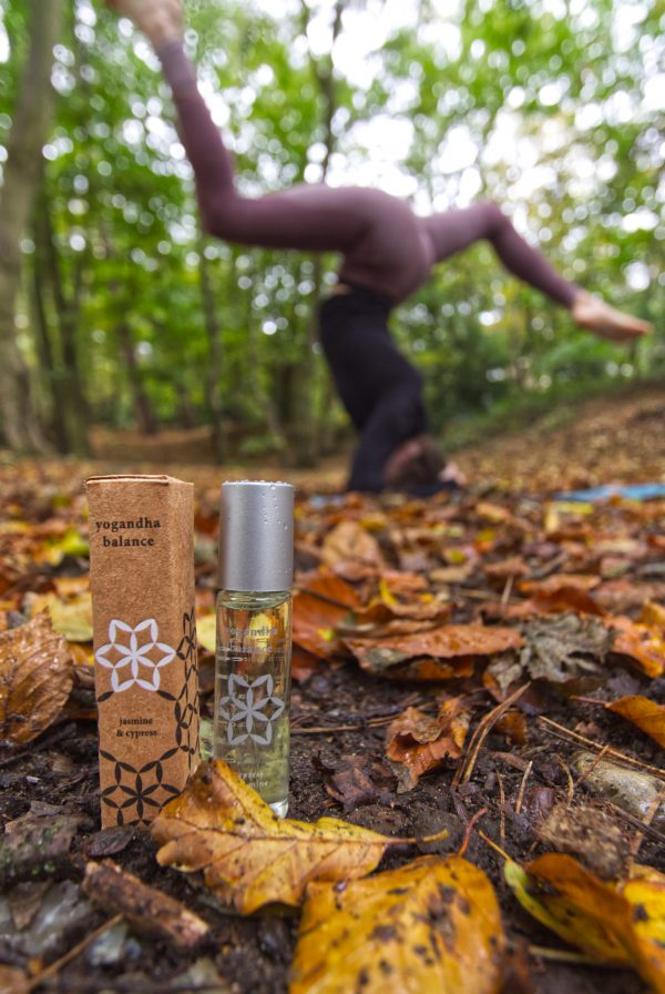 For Her Essential Oils Gift Set - 7. Yoga in nature balance roll on autumn golden leaves