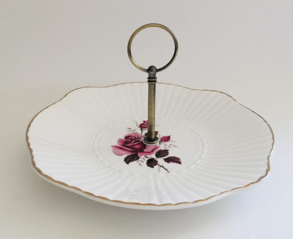 Cake Stand - 1 Tier Pink Rose Irish Royal Tara China - 98DD0893 315E 46BF 83AB 45372E7CA864