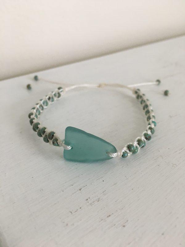 Turquoise Sea Glass Macrame Bracelet