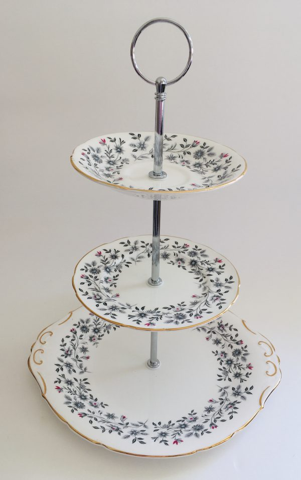 Cake Stand - 3 Tier Black and Red Floral Fine Bone China